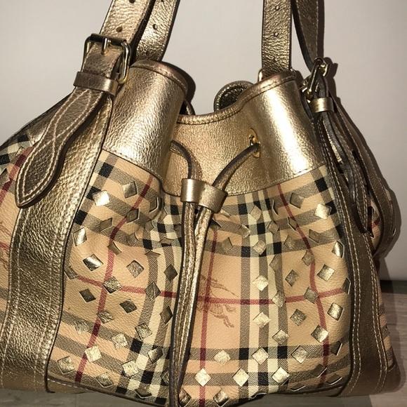 Burberry Handbags - Burberry All Beaton Gold Drawstring Bag 7fcbfcdcfa